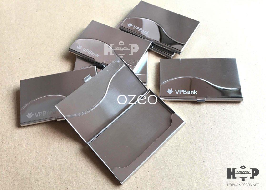 Hộp name card inox NC061 khắc logo Vpbank làm quà tặng đối tác, khách hàng, nhân viên.