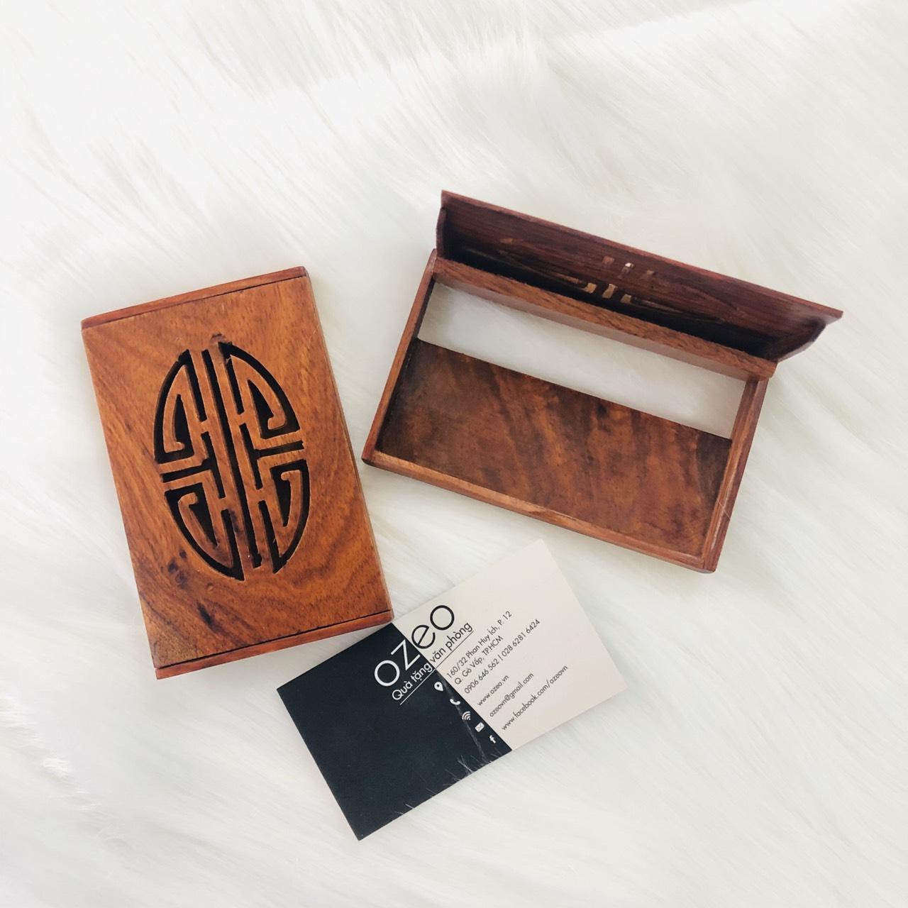 Hộp đựng name card gỗ NC092 mặt trong và mặt ngoài