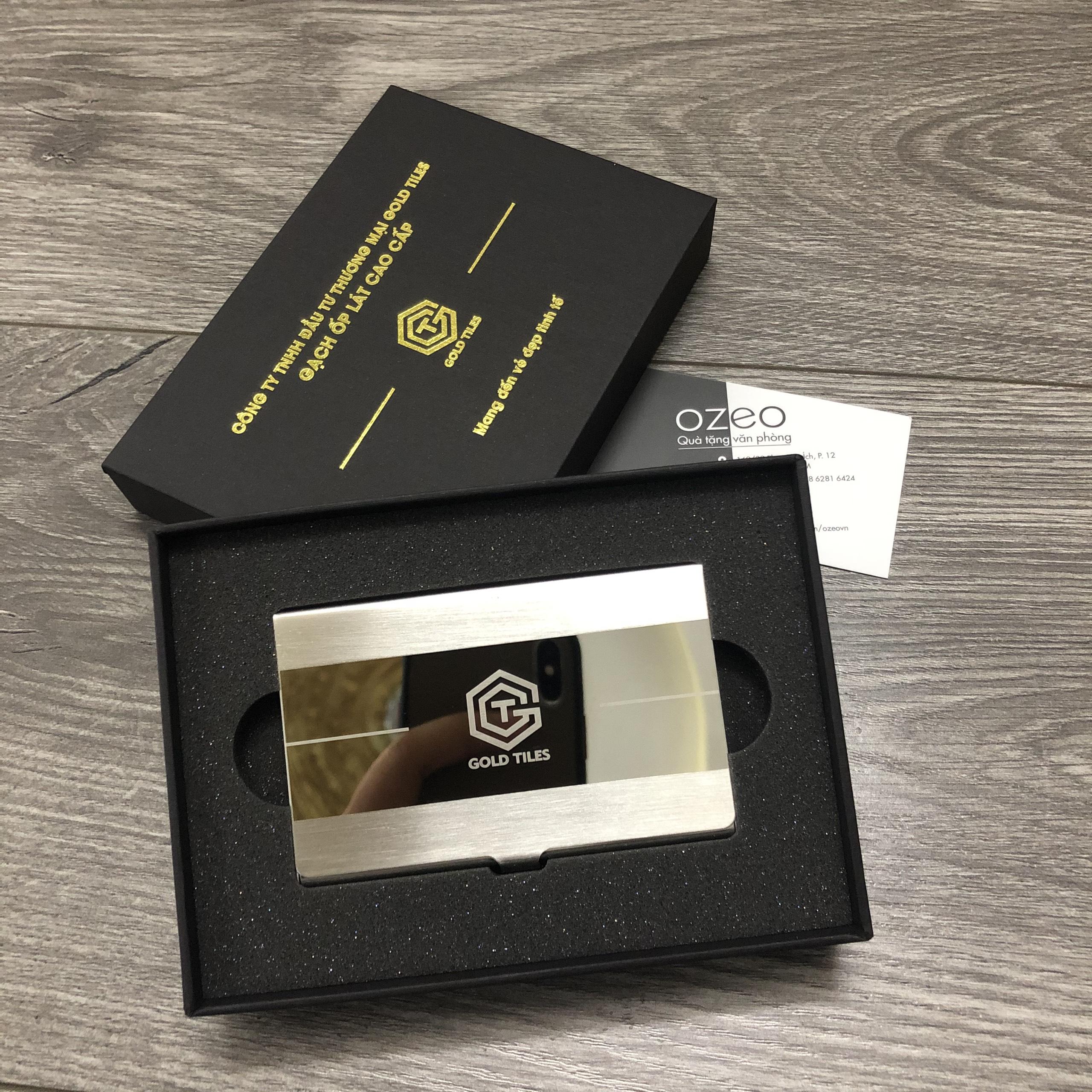 Hộp đựng danh thiếp NC063 khắc logo Công Ty TNHH Đầu Tư Thương Mại Gold Tiles